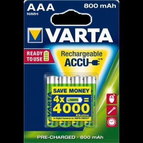 Oplaadbare batterij AAA 800 mAh NiMH Varta 4 stuks